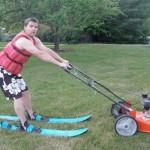 etc guy lawnmower skiing